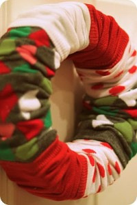 Christmas sock wreath
