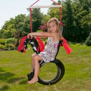 Kid's swing from tires